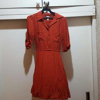 Forever21 Red Printed Button Dress