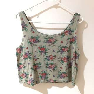 Floral Sleeveless Crop Top