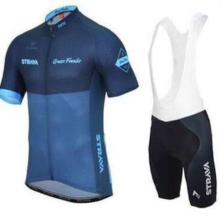 #19 Strava Gran Fondo Two Tone Cycling Jersey Bib Shorts Set Unisex