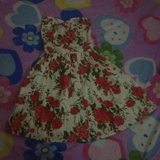 Floral Dress (tube and color Red-orange)
