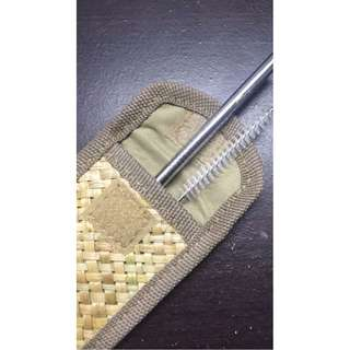 Metal Straw With Brush Cleaner And Tikog Pouch From Leyte