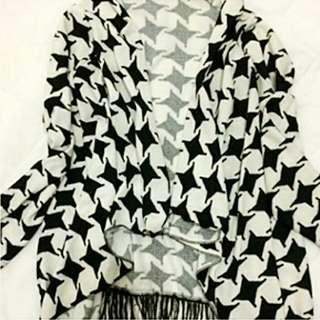 千鳥格紋披風式外套