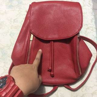 Parisian Red leather Backpack
