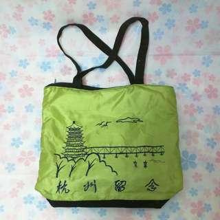 杭州刺繡綠黑側背袋