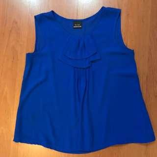 Blue Sleeveless Blouse