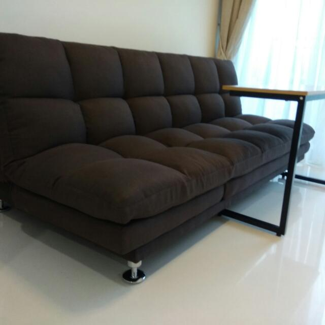 3-way Sofa Bed (Dark Brown Removable Fabric), Furniture, Sofas on