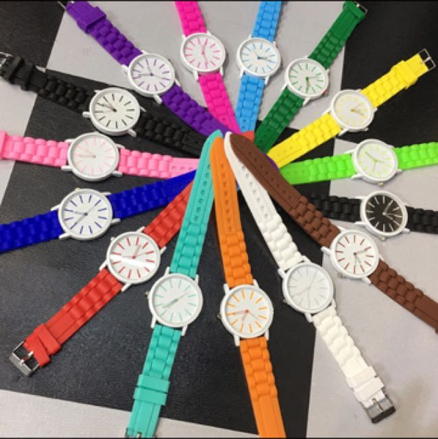 韓國最前線百搭糖果色膠錶帶手錶