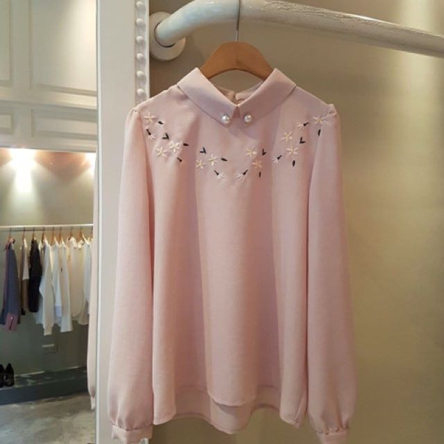 粉色襯衫式上衣