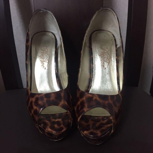 豹紋漆皮厚底高跟鞋  #五百元好女鞋