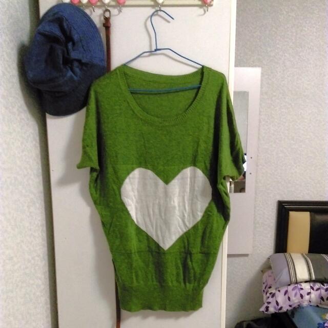 綠色針織愛心肥鼠袖上衣 #一百元上衣