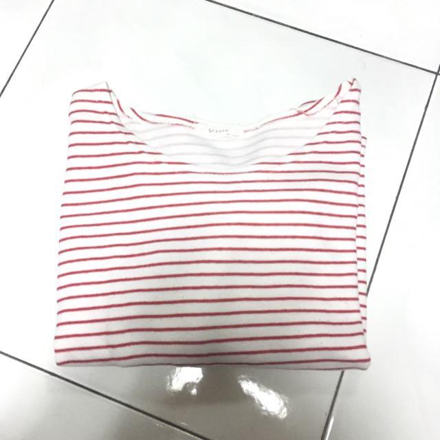 紅白條紋九分袖上衣 質感很好