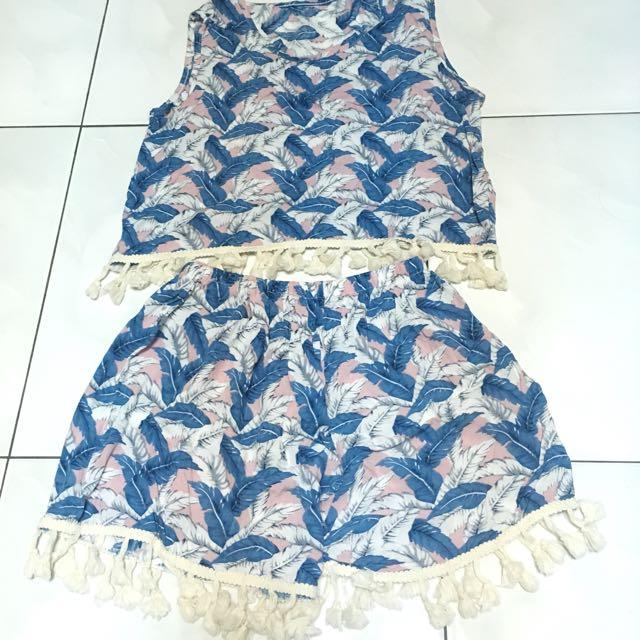 泰國購入 羽毛流蘇無袖上衣+短褲 套裝
