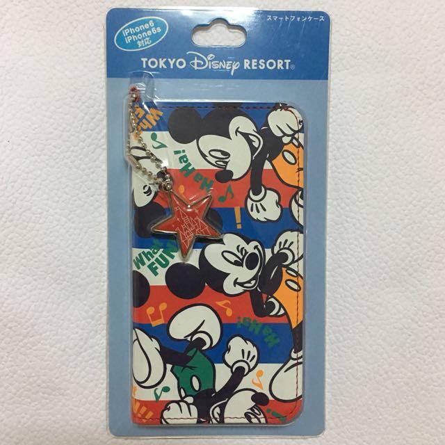 日本 東京 迪士尼樂園限定版😍彩色米奇iPhone 6、iPhone6s 側翻蓋手機套(全新未拆封)免代買費👍🏻實報實銷