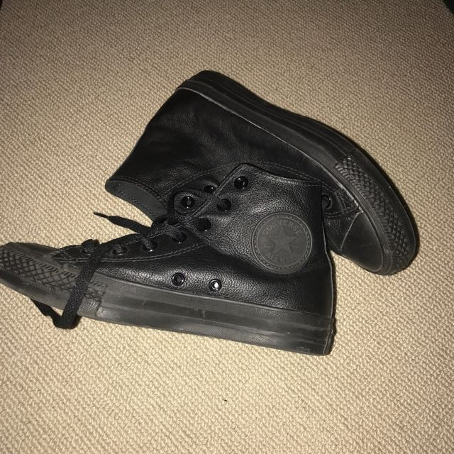 All Black Leather Converses