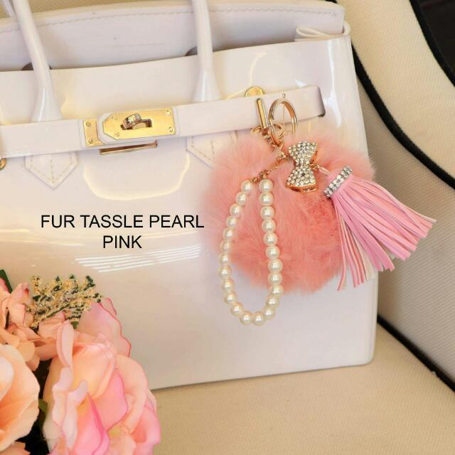 Bag Charm - Fur Tassle Pearl