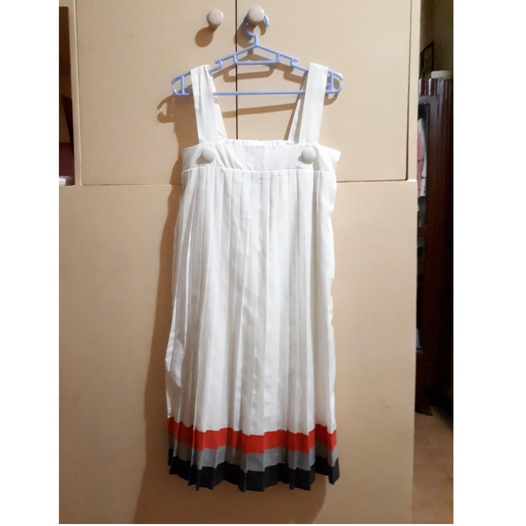 Bayo Pleated Dress - White