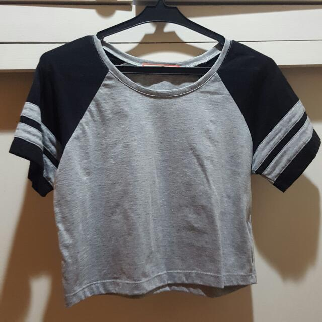 Black/Gray Crop Top