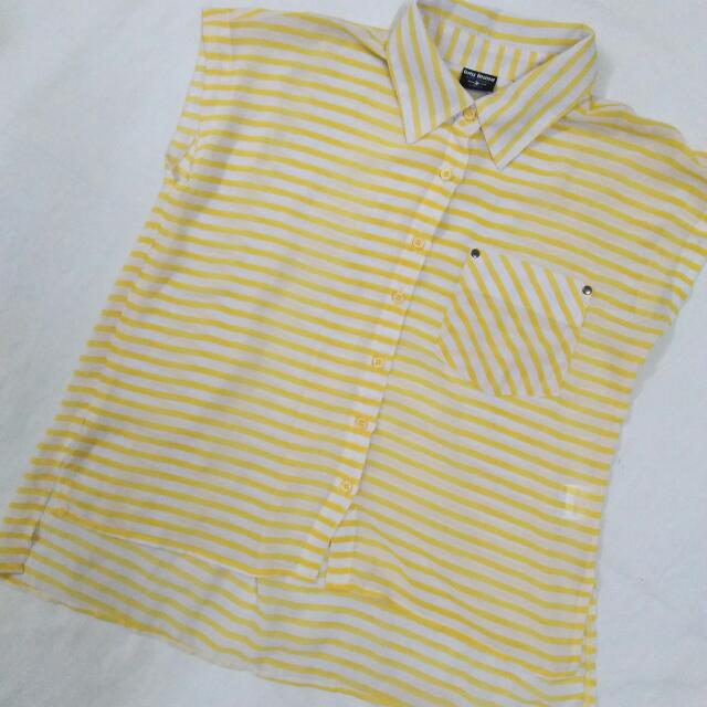BNY See Through Yellow Striped Top