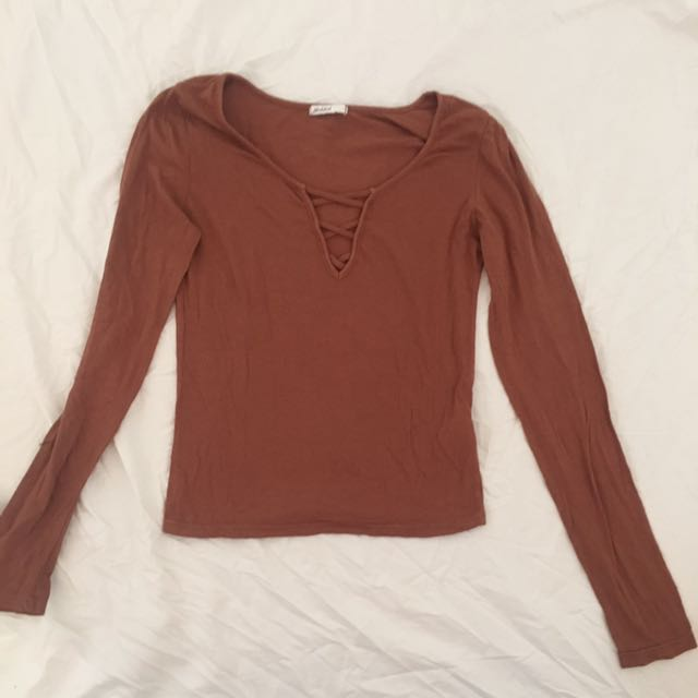 Brown Lace Up Long Sleeve Top