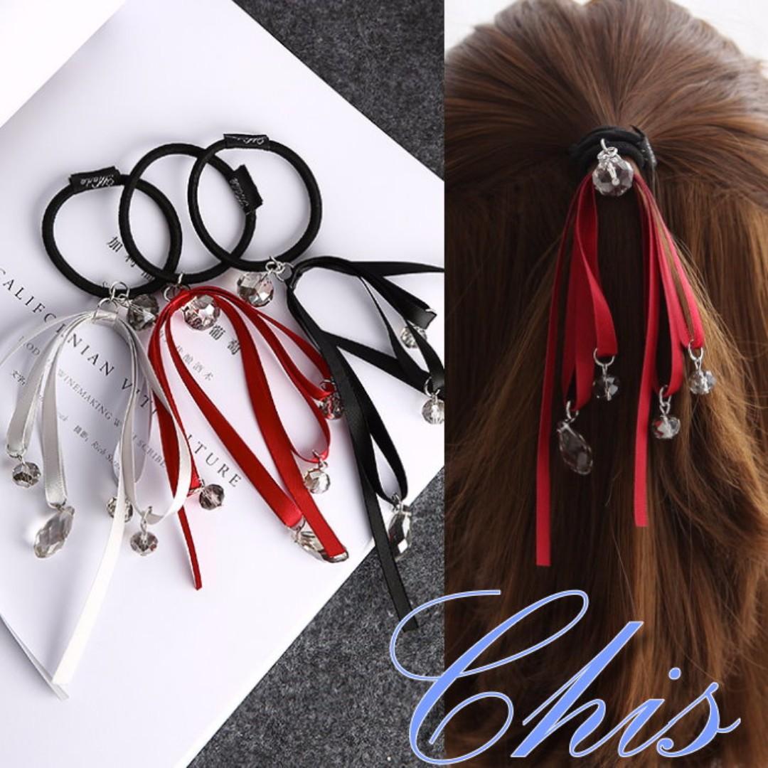 Chis Store【水晶緞帶垂墜髮圈】韓系甜美可愛水滴吊飾蝴蝶結層次公主頭髮飾 綁頭髮 馬尾 橡皮筋 MZB7303