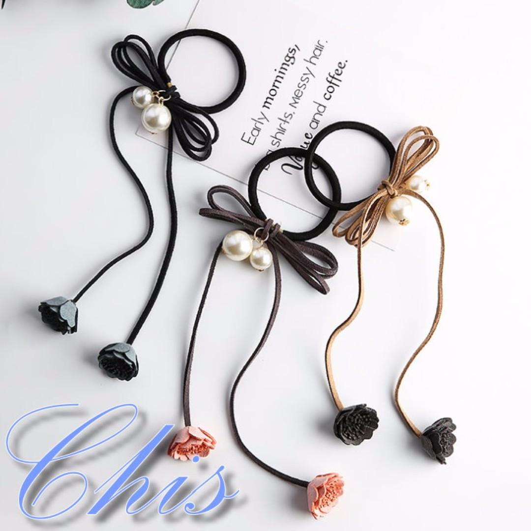 Chis Store【質感花苞珍珠蝴蝶結髮圈】韓系甜美小花朵垂墜流蘇珠珠氣質垂墜髮飾 MZB4304