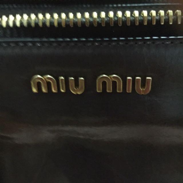 Clearance!! Brand New Miu Miu Vitello Shine Bauletto Leather Bag ... 89dfbbb998403