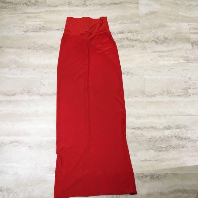 Dark Orange Long Body Con Skirt