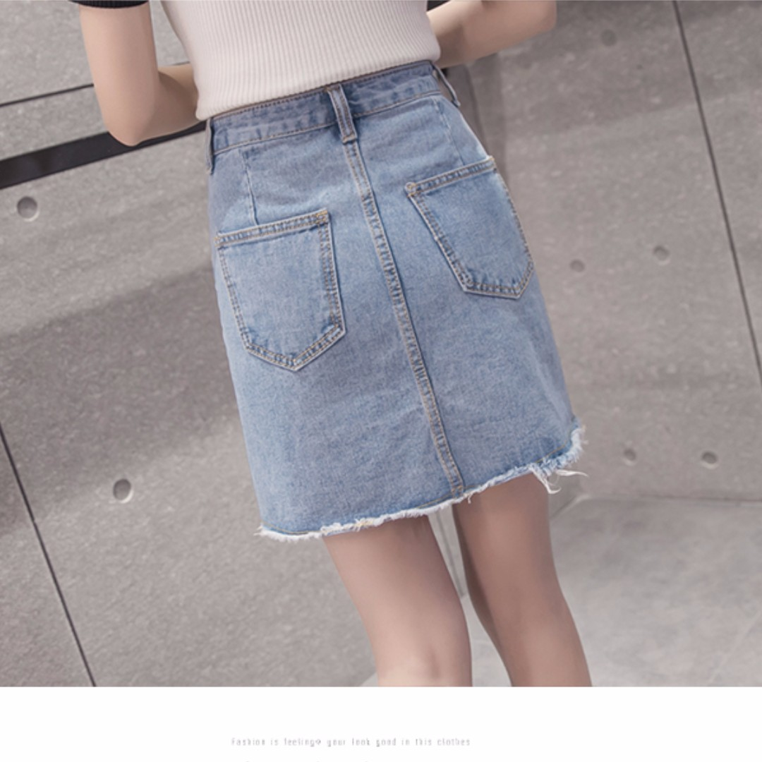4b76b42d96 Destroyed/Ripped Denim Skirt (Light Blue), Women's Fashion, Clothes, Pants,  Jeans & Shorts on Carousell