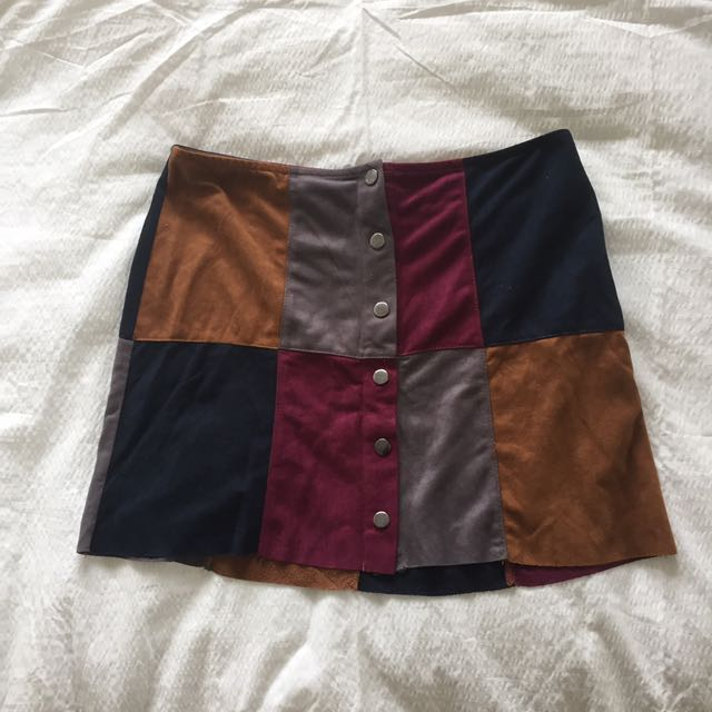 faux suede patch skirt