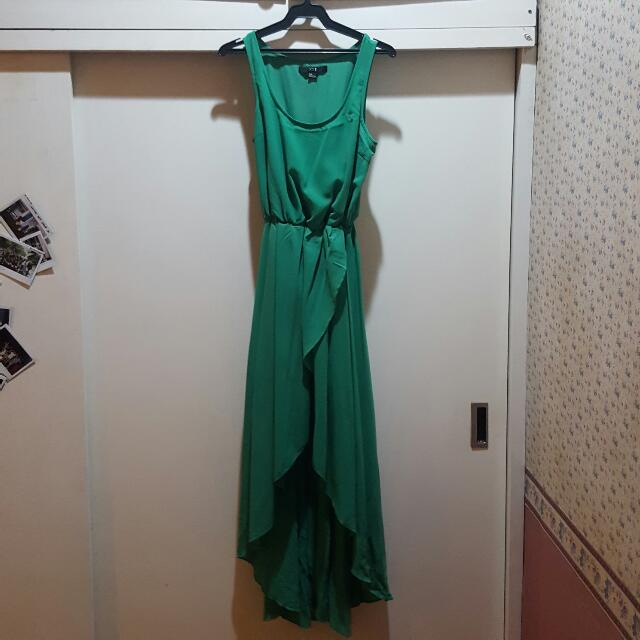 Forever21 Green Sleeveless Mullet Dress