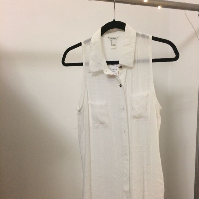Forever 21 Sleeveless Long Button Down