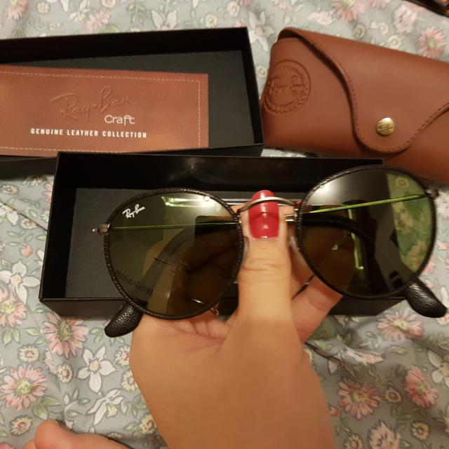 68ed7e019c Genuine Ray Ban 3475Q round leather sunglasses
