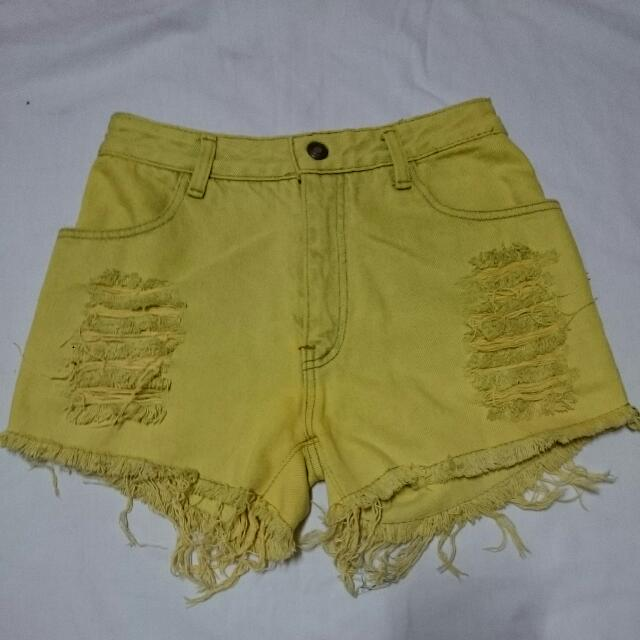 Hi-Waist Lime Short (tattered)