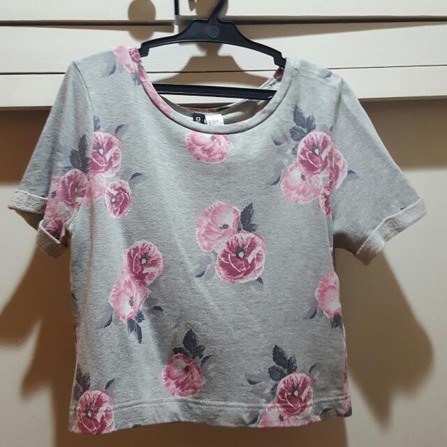 H&M Pink Floral Gray Shirt