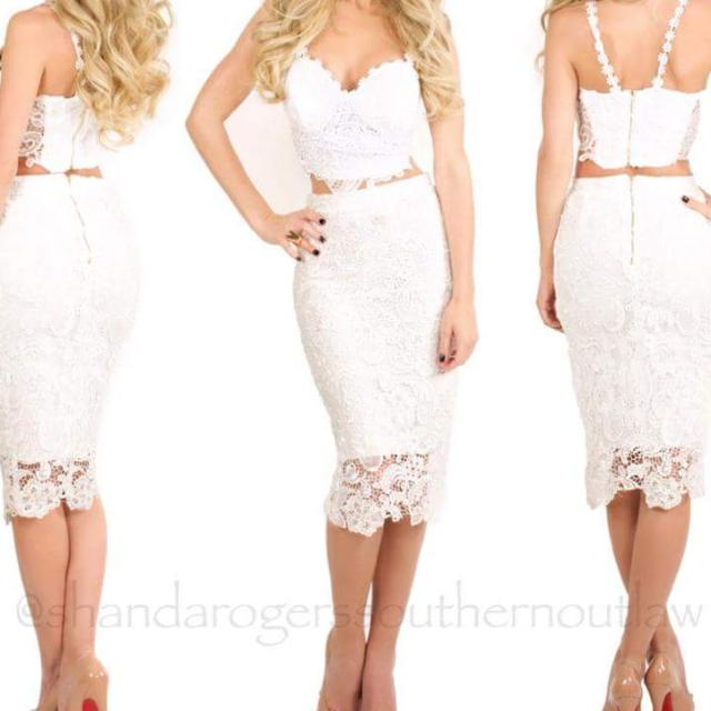 Lady Luxe Boutique White Lace Dress 2 Piece