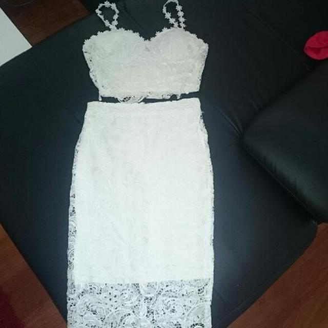 Lady Luxe Boutique White Lace Dress 2 Piece