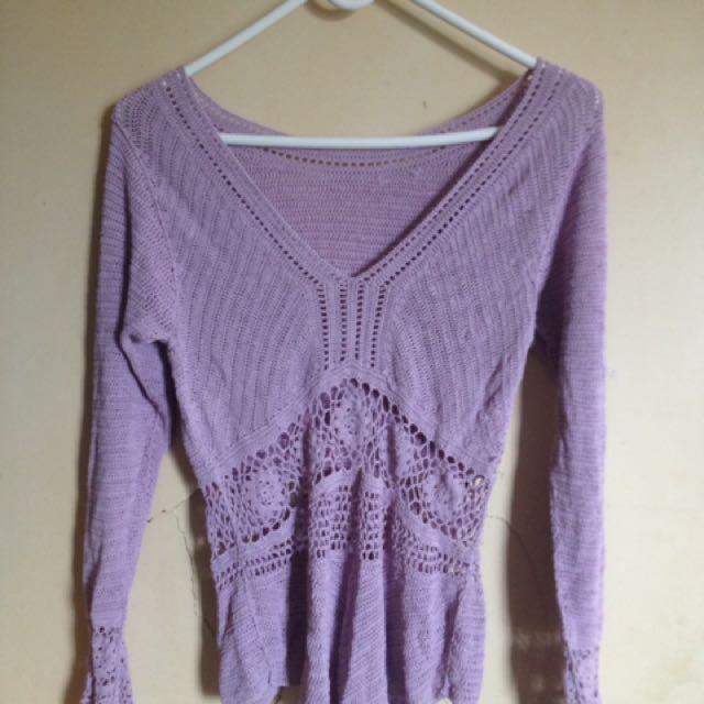 Lilac Crotchet Top
