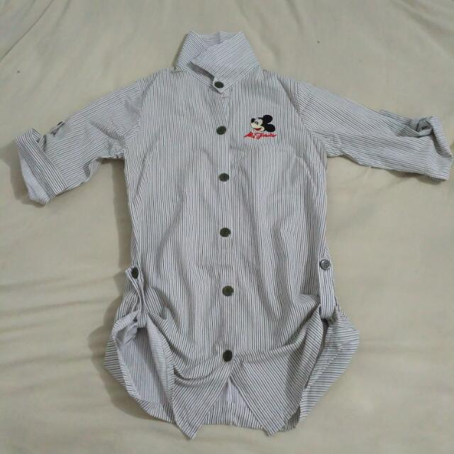 Mickey Mouse White Stripes Shirt Kemeja Putih