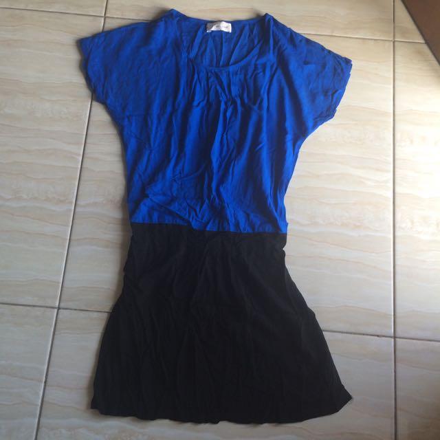 Mini Dress Biru Hitam