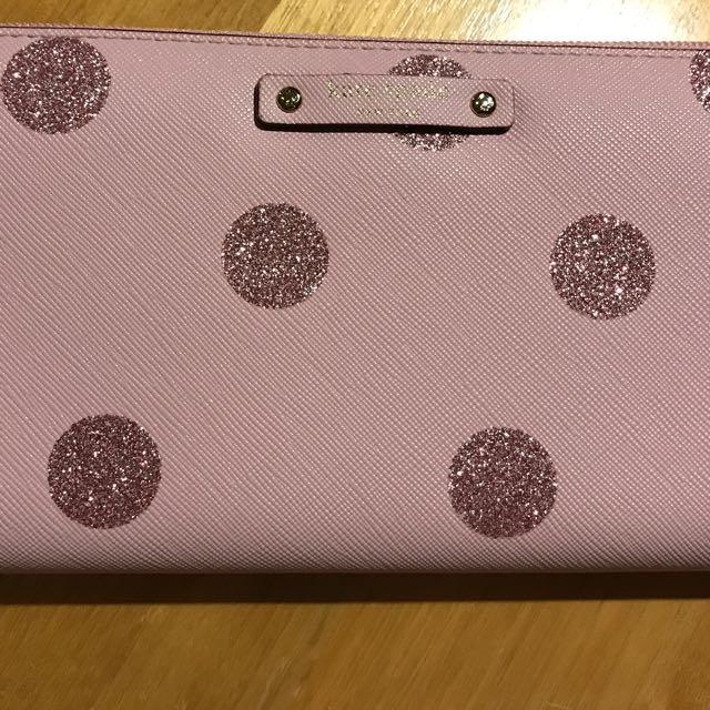 NEW Kate Spade Stacy Heaven Lane Bifold Wallet Pink Glitter Dots