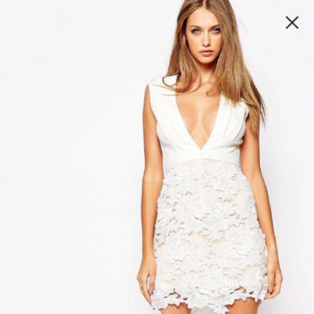 歐美白色party蕾絲性感洋裝