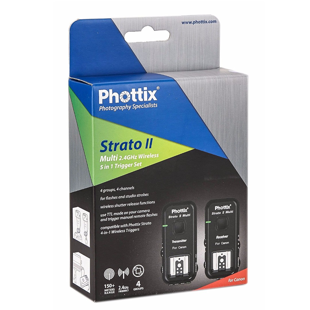 Phottix Strato II Wireless Flash Trigger Multi 5-in-1 Set for Canon - Transmitter and Receiver