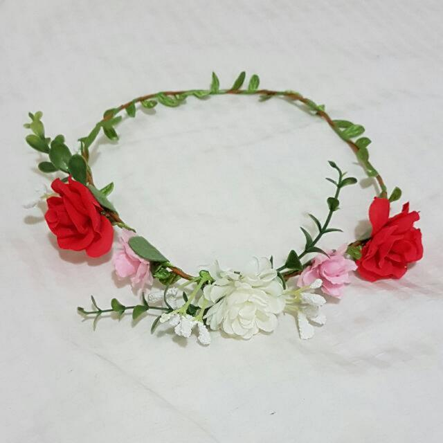 Pink, Red & White Floral Headpiece