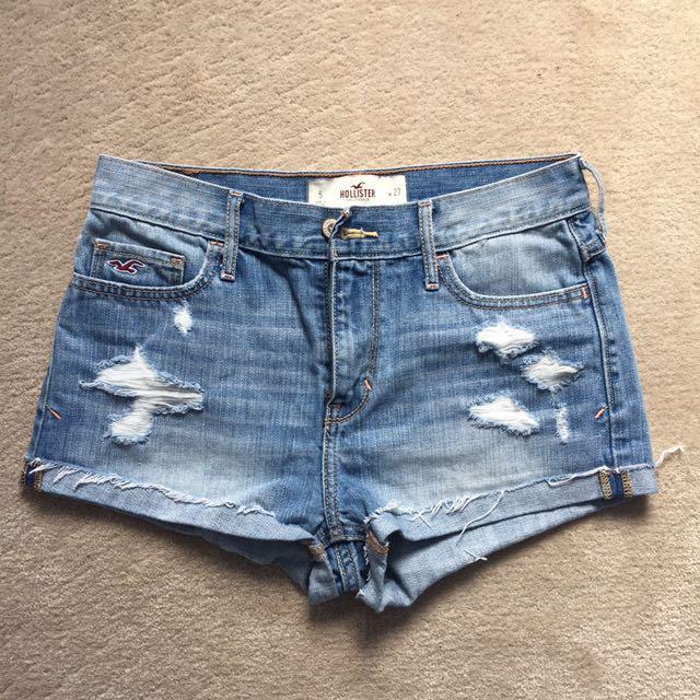 High Waist Distressed Holister Jean Shorts
