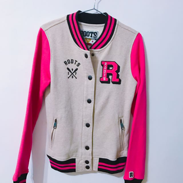 Roots 桃紅色棒球外套