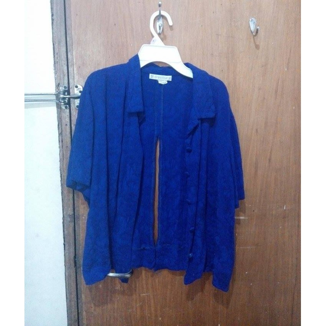Royal Blue button down polo with back slit