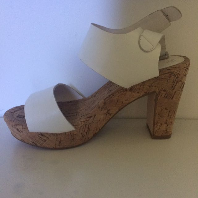 Sportsgirl chunky white cork heels size 37