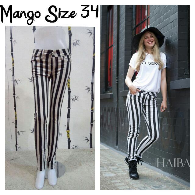 Stripe Pants Black And White