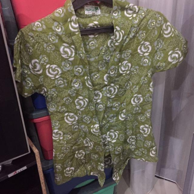 SUPER SALE - Green Flower Batik