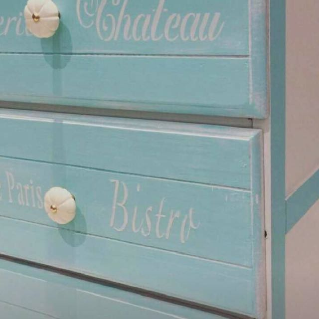 Tiffany Blue 3 Drawer Bedroom Chest